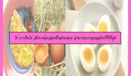 ไข่ การกินไข่ สัปดาห์ละสองถึงสามฟอง สามารถบรรลุผลลัพธ์ที่ดีที่สุด